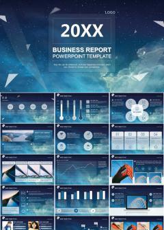 蓝色星空扁平化商务总结工作汇报计划PPT