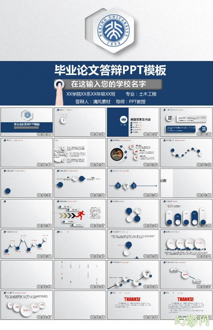 手指创意蓝色经典论文答辩PPT模板