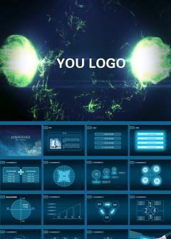 蓝色炫丽视频商务工作总结ppt模板