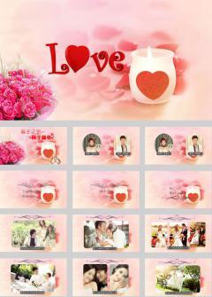粉红色婚礼婚庆电子相册ppt模板
