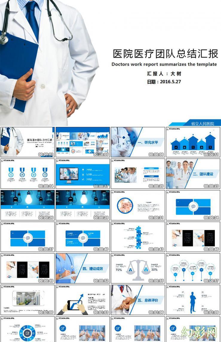 医院医疗团队总结汇报PPT模板