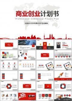 红色商业创业计划书PPT模板