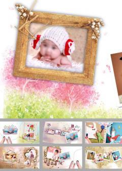 宝宝相册儿童卡通纪念册ppt模板