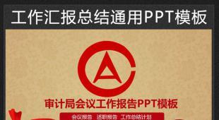 审计局会议报告工作计划PPT模板