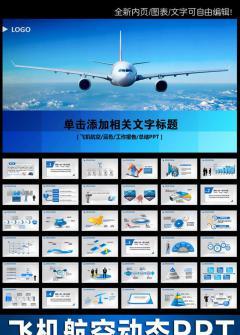 民航飞机客机南方航空公司蓝色动态PPT模板