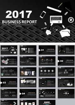 2017时尚黑色风商务通用ppt模板