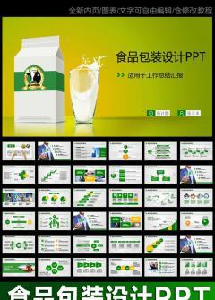 牛奶鲜奶行业食品包装设计动态PPT模板