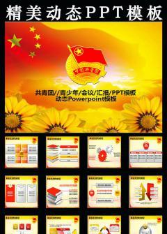 动态共青团志愿者团委党政报告PPT模板