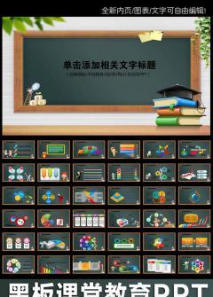 黑板教育�W校�n件PPT��B模板