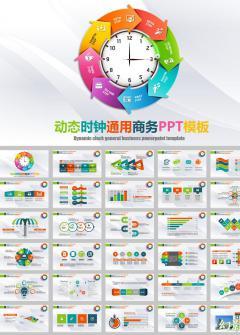 时钟动态商务工作报告总结ppt模板