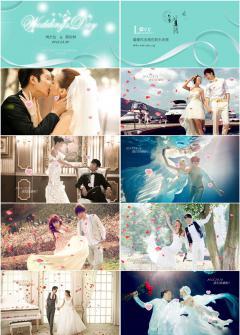 浪漫爱情婚礼照片电子相册PPT模版