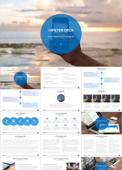 欧美风蓝色商业总结报告创业ppt模板