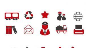 400个红黑简约商务ppt图标素材