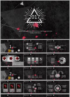 典雅黑色玫瑰时尚PPT模版、年终总结、工作汇报、品牌展示