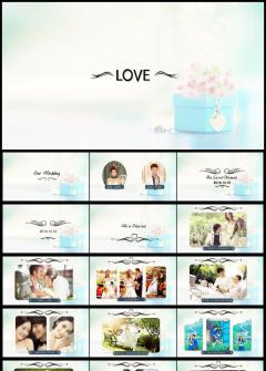 淡蓝色简洁婚礼PPT模板