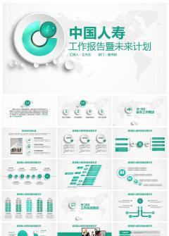 【微立体风】中国人寿计划总结PPT