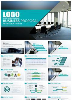 蓝色简洁商务风企事业通用PPT模板