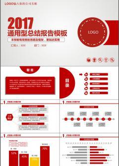 2017红色商务办公通用型总结报告PPT模板