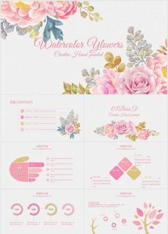 国外水彩手绘粉色玫瑰月季花卉ppt模板下载