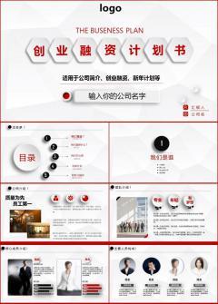 红色大气创业融资计划书PPT模板