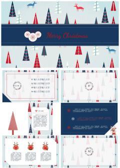 红蓝撞色卡通风圣诞PPT 圣诞营销计划 圣诞介绍 清新可爱