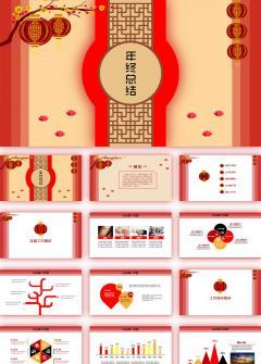 中国风红色年度汇报总结新年计划PPT模板