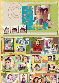 可爱风格儿童生日成才档案卡通通用电子相册ppt模板