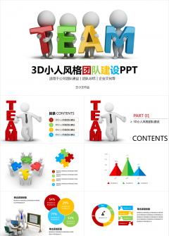3D小人风格团队建设PPT团队拓展