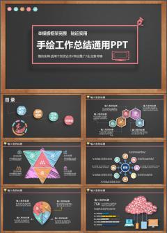 2017简约黑板风商务PPT模板图片下载手绘