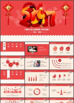 红色2017鸡年年终总结动态PPT模板