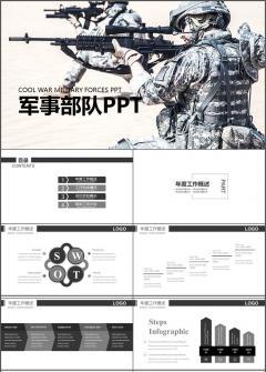 现代军事部队 战争场面 游戏PPT模板