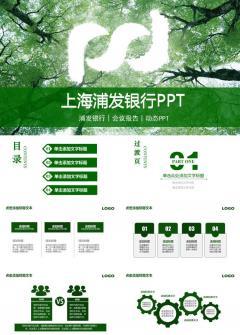 绿色时尚精美上海浦东发展银行工作总结汇报职述介绍通用