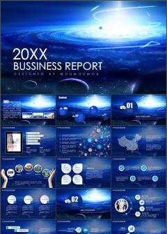 蓝色星球新年计划总结述职报告动态PPT模板