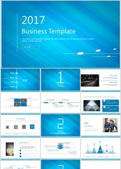 蓝色高端质感商务通用PPT模板