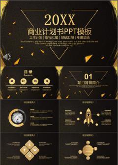 金色大气商业计划书商务通用动态PPT模板