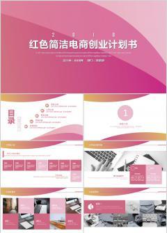 2018红色简洁电商项目创业计划书PPT模板
