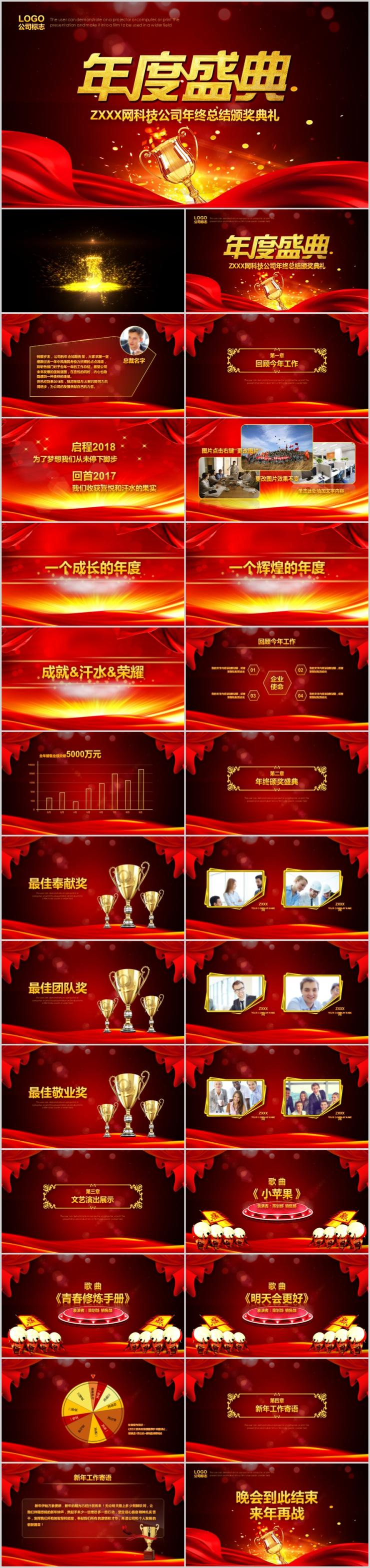 震撼大气公司年度盛典年终总结暨颁奖典礼PPT模板