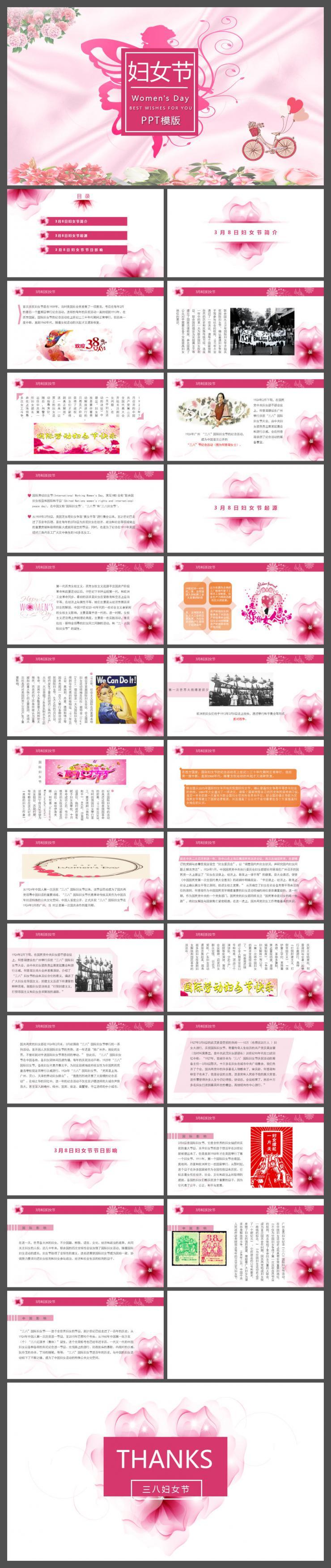 粉色唯美三八妇女节介绍PPT模版