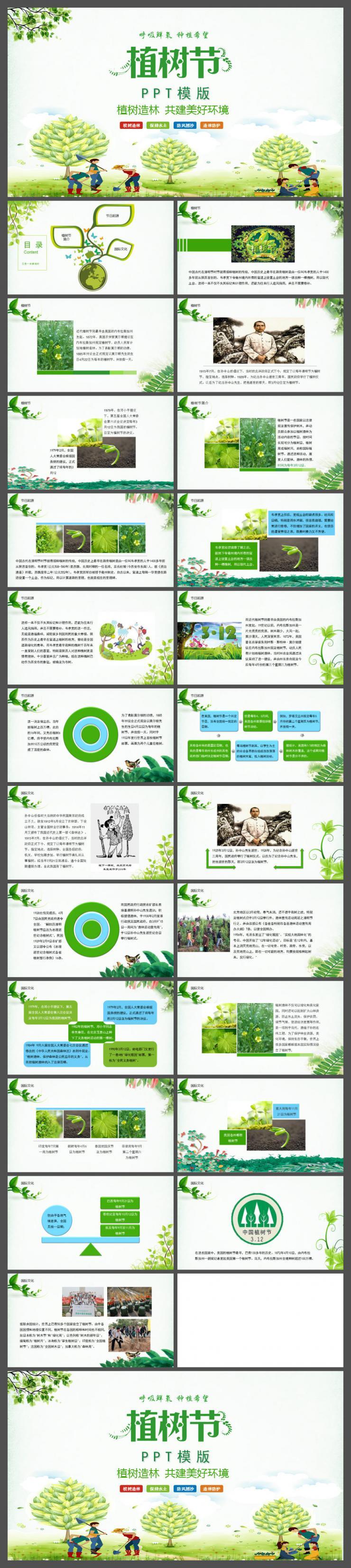 绿色清新传统节日312植树节介绍PPT模版