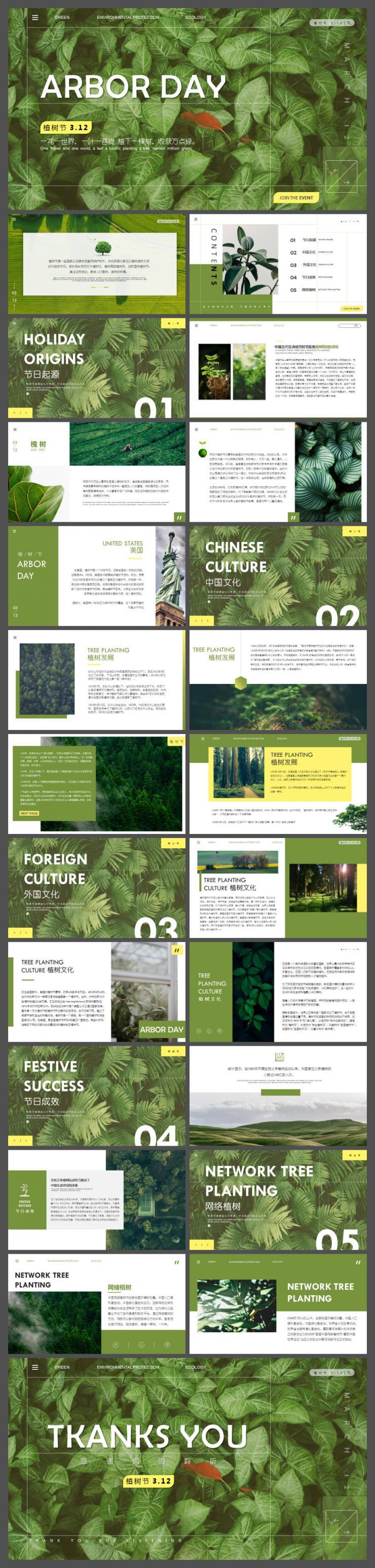 绿色简约312植树节文化介绍PPT模板