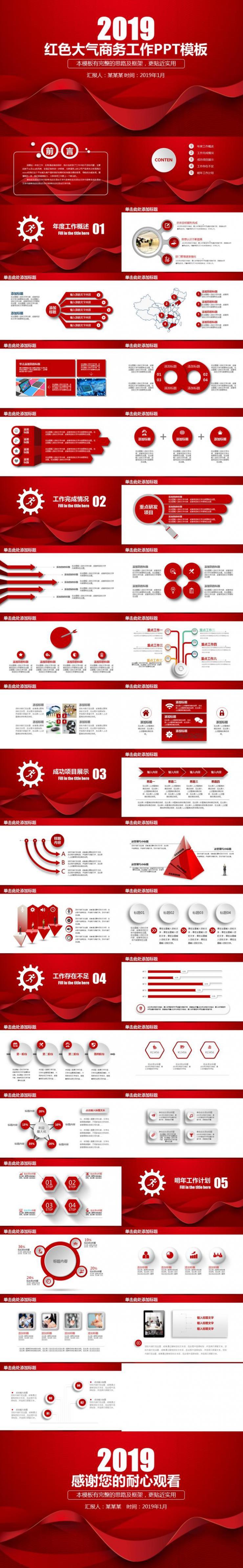 红色大气商务工作年终总结动态PPT模板
