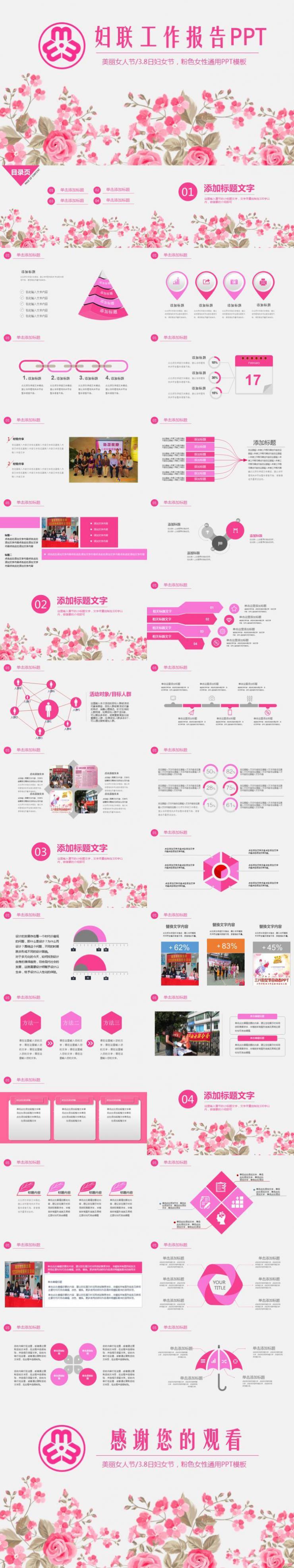 粉色妇幼妇联年度工作报告动态PPT模板