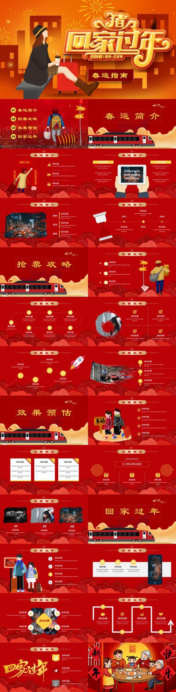 2019年猪年新春春运回家PPT模板下载