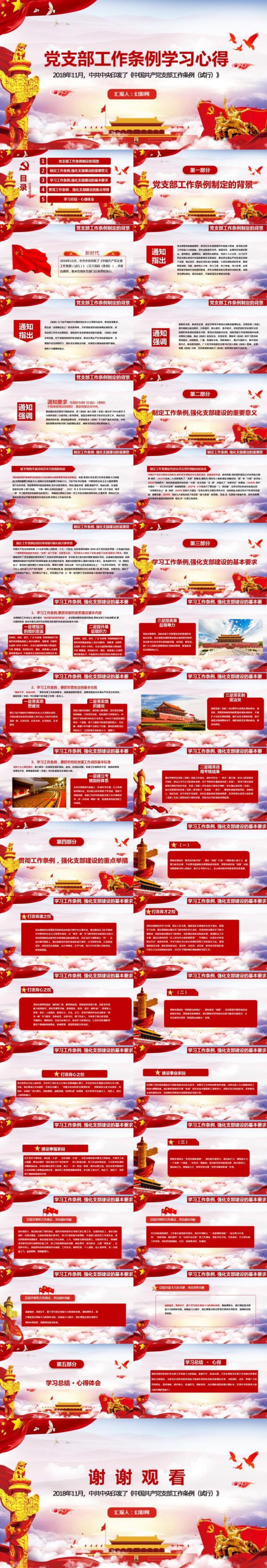中国共产党党支部工作条例学习心得动态PPT模板