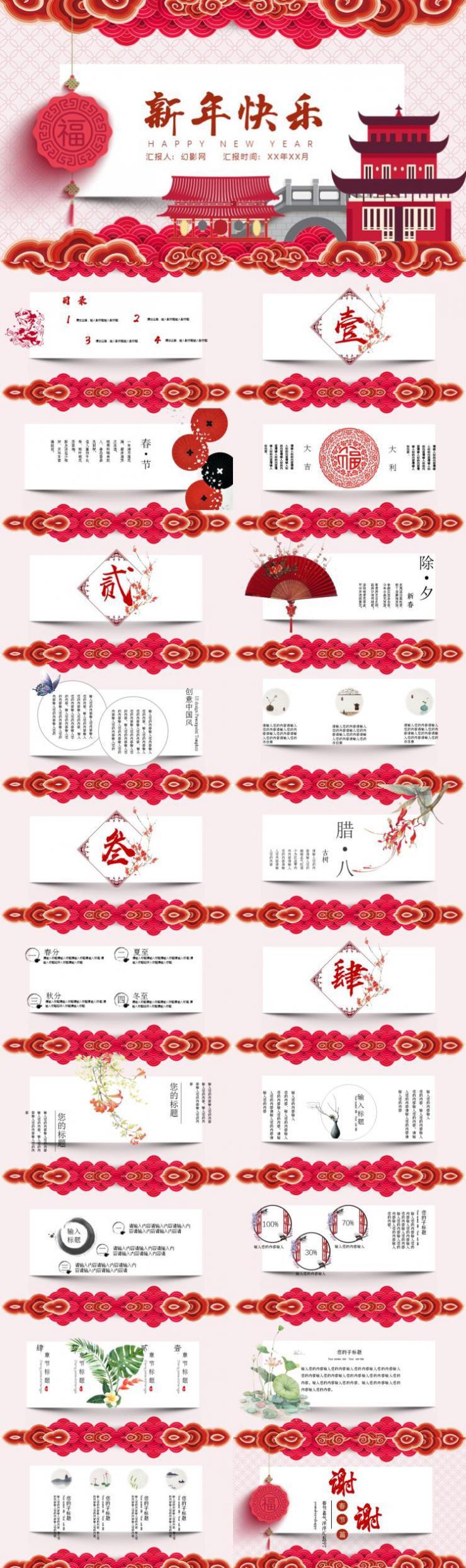 2019年红色中国风春节计划新年动态PPT模板