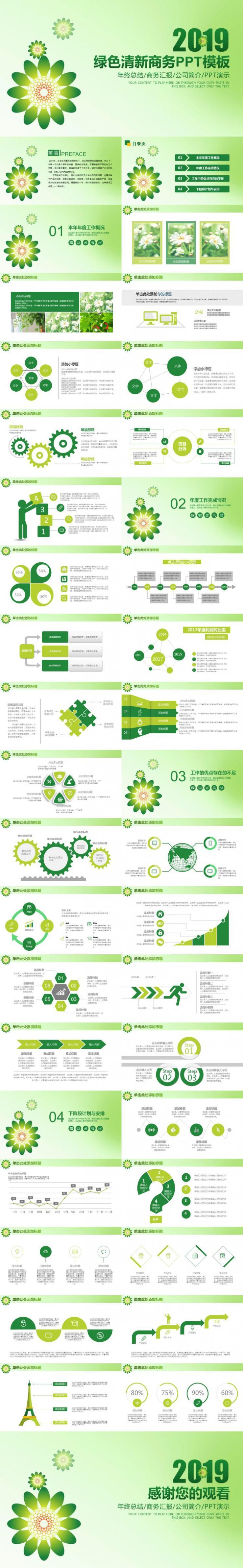 2019绿色清新商务PPT模板