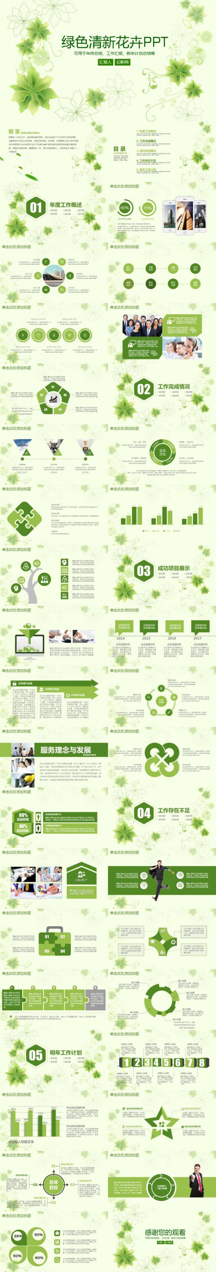 绿色清新花卉动态PPT幻灯片模板