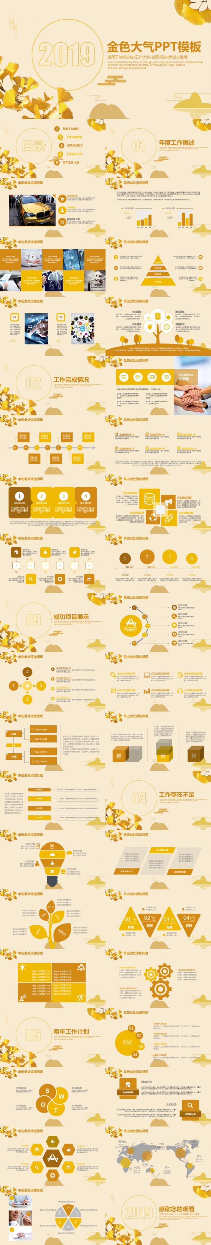 金色大气述职报告策划方案PPT模板