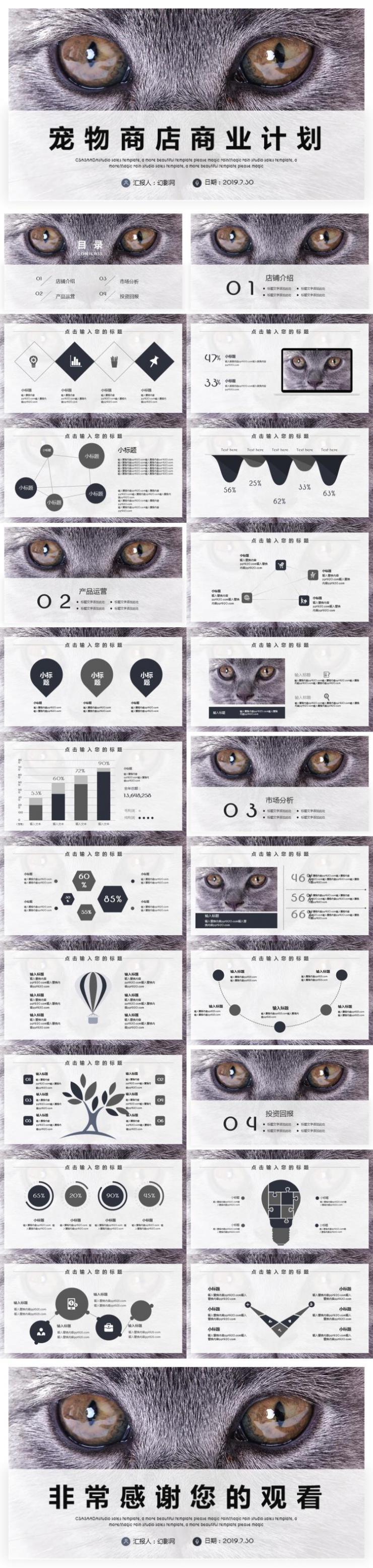 宠物商店商业计划PPT模板下载