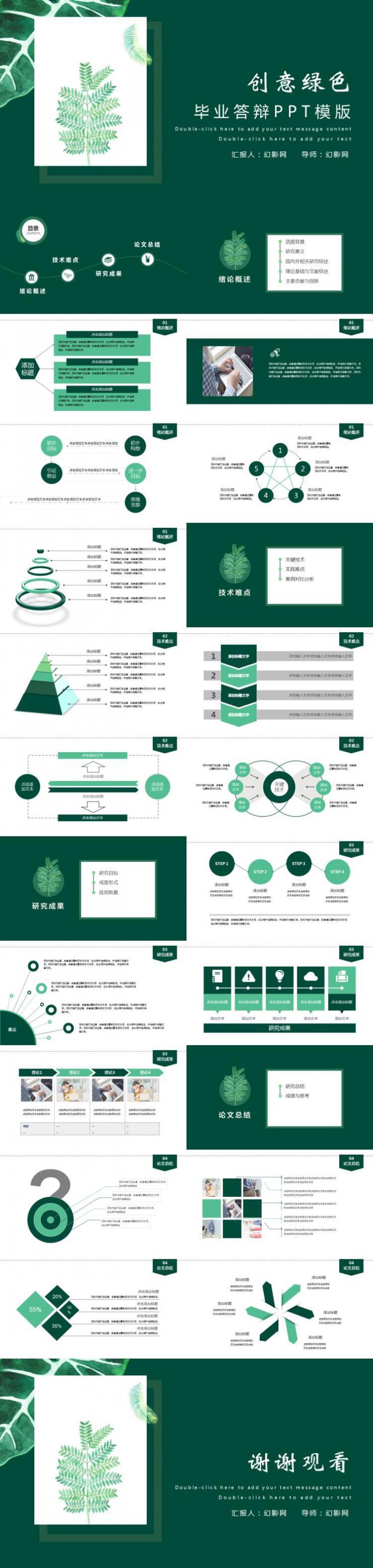 绿色简约学术论文答辩PPT模板